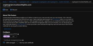 Azure portal screenshot showing configuration of CDN-managed certificate for custom domain HTTPS