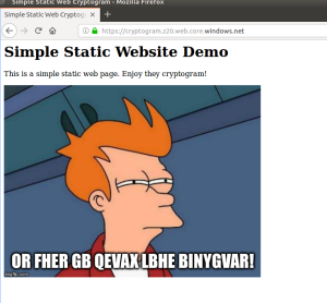 Screenshot of browser showing static website demo
